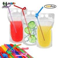 Borrar tazas Bolsas de bebidas mágicas con paja Resellable BAQUETE BAQUETES BAJOS PEQUEÑAS PEQUEÑAS PEQUEÑA PUBLICA TIKTOK EE. UU. HY28