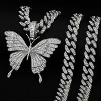 Pendant Necklaces Luxury Vintage Butterfly Necklace For Women Tennis Chain Hip Hop Party Fashion Iced Out Jewelry Accessories