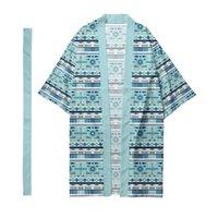 Ethnic Clothing Men Women 3D Print Kimono Shirt Loose Tops Harajuku Beach Cardigan With Belt Jacket Oversize 6XL