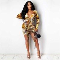 긴 여자를위한 섹시한 드레스 느슨한 캐주얼 긴 소매 포켓 사이즈 셔츠 인쇄 플러스 버튼 여성 패션 드레스 치마 의류 로브 여성 박사