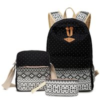 Canvas Backpack women's ethnic style backpack leisure student's slant across pen bag three piece setROCM