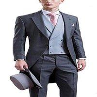 2020 Mode 3 pièces Costume gris masculin costume classique costume SLIM FIT FIT CHEMKOAT TRAWAAT Tuxedos pour fête (Blazer + gilet + pantalon) 1