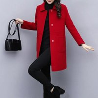 Women's Wool & Blends Quilted Thick Coats Woolen Coat Autumn Winter Plus Size 5XL Overcoat 2021 Spring Mid-Length Female