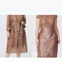 Modern Brown Short Sleeves Sheath Mother's Dresses with Full Lace Jacket Elegant Tea Length Mother of the Bride Dress Custom Made BC027