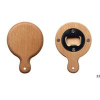 Kreatywne bambusowe drewniane otwieracz do butelek z uchwytem Coaster Lodówka Magnes Decoration Otwieracz do butelek Piwo Darmowe wygrawerowanie Logo HWD9120