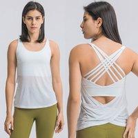 L-75 Kadınlar Üst Tanklar Sütyen Yoga Kıyafetler T-Shirt Spor Bluz Koşu Seksi Iç Çamaşırı Açık Lady Tops İki IN-One Çıkarılabilir Bardaklar Smock Kıyafeti Yaz Sporları Sutyen