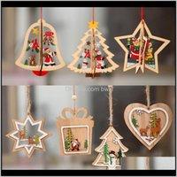 Supplies festivo entrega de gota de jardim 2021 1 pc 2D 3D ornamento de madeira pendentes pingentes estrela árvore de Natal decorações de Natal para casa pa
