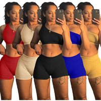 summer women's clothing tracksuits Designer one shoulder small pit bar fashion sexy two piece sets Solid color sleeveless vest shorts Slim Outfits S-XXL 8159