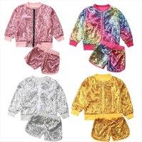 الأزياء الترتر طفل أطفال طفل الفتيات ساطع أعلى سترة معطف السراويل ملابس الملابس مجموعة القطن