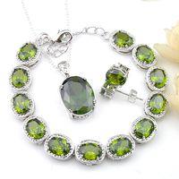 LuckyShine Unique charm 3 Pcs Lot Jewelry Sets Vintage 925 Silver Necklace Oval Green Peridot Mother Gift Pendantds Bracelet Stud