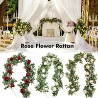 Decorative Flowers & Wreaths 1.98M Artificial Leaves Wedding Rattan Eucalyptus Leaf Rose Flower For Party Festival Garden Decoration Backyar