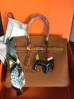 20 ألوان الأزياء حقيبة 35 سنتيمتر 30 سنتيمتر 25 سنتيمتر النساء حقائب الكتف مع ختم قفل سيدة جلد طبيعي حقيبة يد وشاح الحصان سحر