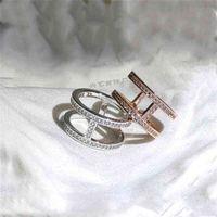 Titanium steel personalized I-shaped popular versatile ins fresh half circle row diamond h double-layer ring female