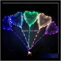 Sevgililer Günü Hediyeleri LED Aşk Kalp Bobo Topu Balonlar Gece Işıkları Temizle Balon Düğün Parti Dekorasyon Için Flaş Hava Balonu Kftf HPWU9
