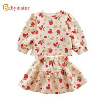 Babyinstar New 3-7 Y Cartoon Radish Print Tops + Skirts Sets Cotton Toddler Girl Clothes Fall Outfits Boutique Kids Clothing A0510