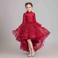 Tulle rouge robe haute princesse pour filles à manches longues fleur dentelle dentelle fête anniversaire fête première communion robe fille
