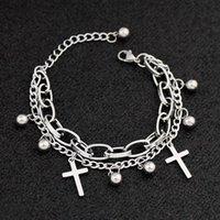 Bracelet à la mode Acier inoxydable Pendentif en acier inoxydable Pendentif double chaîne Titanium Bijoux de bijoux Femmes Bracelets