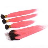 الظلام الجذر # 1B الوردي أومبير 4x4 الدانتيل إغلاق مع 3 حزم 2tone أومبير الوردي العذراء بيرو الشعر البشري ينسج حريري مباشرة مع إغلاق
