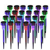 24PCS 5W Hög ljusstyrka Solar Power LED Logn Lampor Party Tillbehör med lampskärmar Sju färgträdgårdsdekoration Snabb leverans