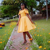 Bridesmaid Dress Gold Yellow African Dresses 2021 Sexy Knee Length Wedding Guest For Black Girls Robe Demoiselle D'honneur