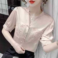 TWICEFANX Camicetta Blusa Blusa Feminina Summer Summer Stitch Ricamo Scalzo Vintage Vintage V-Neck Shirt Chiffon a maniche corte 532F 210602