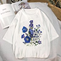 Women's T-Shirt Women Shirt Womens Floral Summer Wild Plant Clothes Ladies Short Sleeve Kawaii Tees Top Graphic Printed Tshirt Female