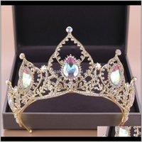 Barock Luxus Braut AB Crystal Crowns Tiara Braut Gold Stirnband Hochzeit DIAdem Königin Kronprinzessin Haarschmuck Ypeey Anhänger N INWK6