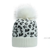 Party Hats Ear Warm Mink Fox Fur Ball Thick Women Girl Fall Winter Skullies Beanies Hat Cap Leopard Elastic Fashion Accessories FWE9765