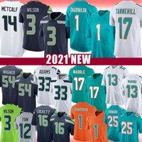 "3 Russell Wilson 17 Jaylen Waddle 1 TUA THAGOVAILOA JERSEY DK Metcalf Jamal Adams Seattle ""Seahawks"" Miami ""Dolphins"" Marino Bobby Wagner 12s Howard Lockett"