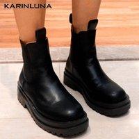 Boots Karni 2021 Fashion Women Motorcycle Square Heel Round Toe Platform Spring Autumn Shoes