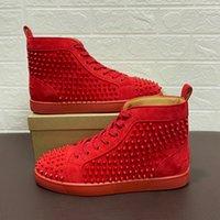50٪ من أحذية رجالي حذاء رياضة الصغار من جلد الغزال رصع المسامير مسطحة المدربين الأحمر أسفل أبيض مصمم أبيض عالية الفضة ارتفع أعلى جودة مربع الأصلي حجم 35-47