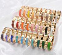 316L pulseira de aço inoxidável 18k banhado a ouro h esmalte colorido pulseira de moda jóias para mulheres