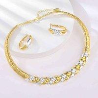 Viennois goud zilver kleur multicolor twisted ketting oorbellen luxe bruiloft sets bruiden Dubai sieraden