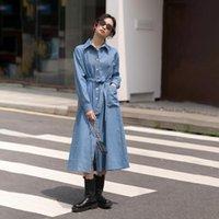 Повседневные платья EWQ Blue Denim с поясом женское платье с длинным рукавом. Одиночная погружная, закрывая тонкий темперамент 2021 осень GD082