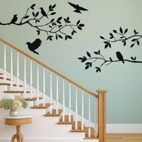 Window Stickers Bird Branch Wall Tree Leaf Decorative For Children's Home Decor Living Room On The Accessories G3o8