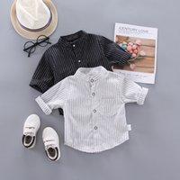 Ienens Primavera Fino Camisas Bebê Boys Manga Longa Impressão Listrada Camisas Crianças Tops Tees Camiseta Blusa Casual C0119 96 Z2
