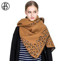 FS inverno marchio morbido giallo coperta sciarpa lana cachemire donne leopardo etnico stampa ponchos sciarpe stole echarpes foulard femme