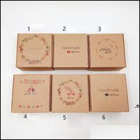 Другие сад Home Gardencolourful Kraft Paper Ювелирные Изделия Коробки Пакет с буквой 6.5x6.5x3cm Небольшая подарочная коробка для ручной мыльной коробки для ручной работы