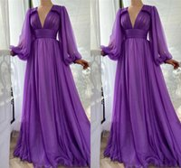 Purple Chiffon A-Line Prom Dresses Long Puff Sleeves V Neck Draped Top Empire Simple Evening Dress Party Gowns