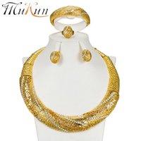 أقراط قلادة موكون رائعة دبي مجوهرات مجموعات الجملة الفاخرة اللون الذهب النيجيري الزفاف مجموعة كبيرة الأفريقية