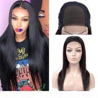 Brezilyalı İnsan Saç Dantel Ön Peruk Siyah Kadınlar Için İpeksi Düz 4x4 Kapatma Dantel Peruk Yüksek Kalite 180% 250% Yoğunluk Peruk Doğal Renk