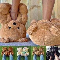 Slippers Plush Bear House Women Home Indoor Soft Anti-slip Faux Fur Cute Fluffy Winter Warm Shoes