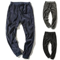 Calças masculinas homens breves corduroy cor sólida cor tiras casuais calças cargo pantalones hombre streetwear corredores sweppants hip hop