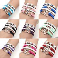 Free DHL 9 Colors Weave Double Heart Infinity Bracelet jewelry Multilayer Wrap kids women bracelets fashion will and sandy gift