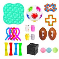 Fidget Decompression Children's Juego de niños Fidget Cuerda Elástica Rainbow Rugby Rugby Pinch Ball Cadena Squeeze Sensory Juguete Para Niños Familia
