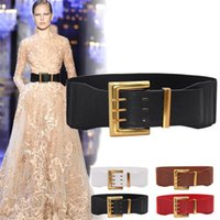 Belts Women Fashion Wild Wide Waistband Elastic Stretch Dress Waist Belt Buckle Band Design Daily Casual Solid Color 2021