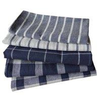 5 unids / lote Color sólido Estilo simple Series azul Series de tela teñida de hilado Toallas de té Cocina Cocina Placa para hornear MAT 50x70CM SH190925