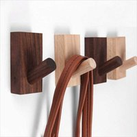 Hooks & Rails Natural Wood Clothes Hanger Wall Mounted Coat Hook Decorative Key Holder Hat Scarf Handbag Storage Bathroom Rack