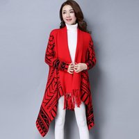 Scarves 7-1710 Fashion Women's Knitted Tassel Shawls Cloak Female Autumn And Winter Clothes Ladies Wraps Coat