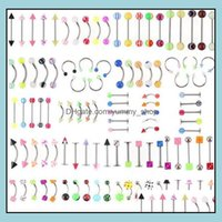 & Bell Button Jewelry105Pcs Set Mix Acrylic Stainless Steel Eyebrow Navel Belly Lip Tongue Ring Nose Bar Rings Body Piercing Jewelry C060 Dr